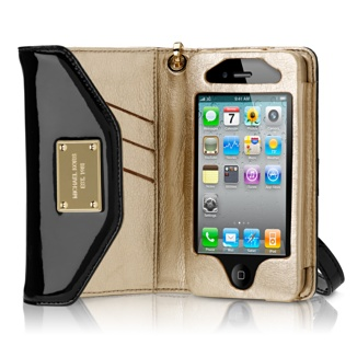 A Michael Kors iPhone wallet! Image from the Apple store, aka the Apple of my eye. Get it? Oh, nevermind.