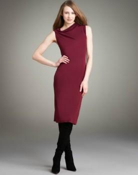 Narciso Rodriguez Asymmetric Jersey Dress in Bordeaux