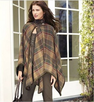 Plaid Poncho autumn