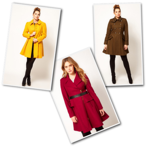 Plus size a-line coats from ASOS Curve.