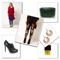 Flower print leggings with high-low top and accessories from ASOS Curve.