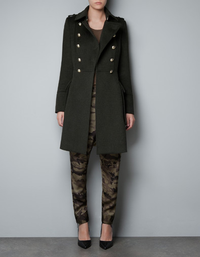 zara woolen military coat