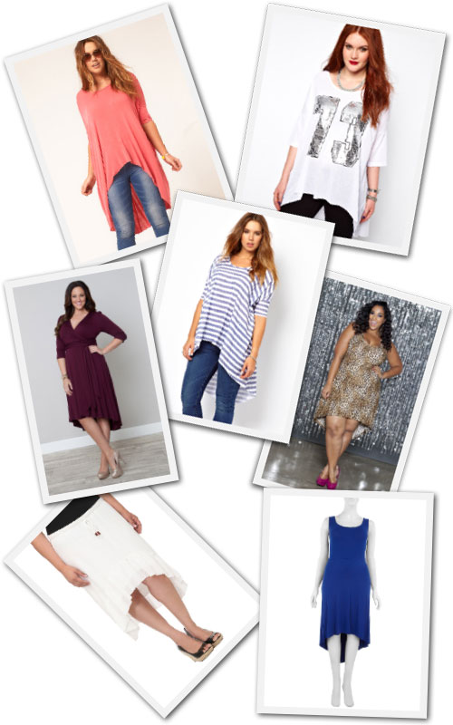 Plus size hi-low tops and dresses.