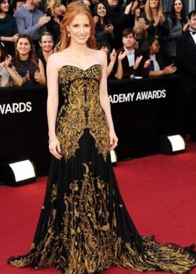Jessica Chastain 2012 Oscars Alexander McQueen