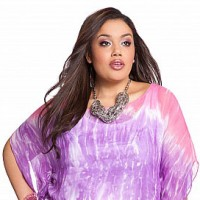 Plus size pink print top from Ashley Stewart.