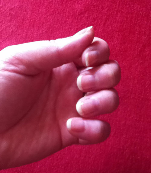 The final results for a Sheer French Manicure.