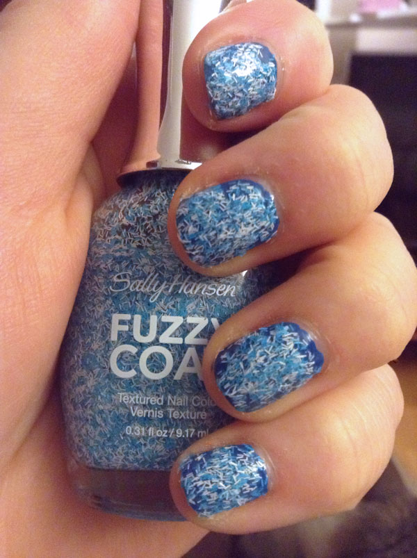 Blue and white fuzzy coat nail polish by Sally Hansen.