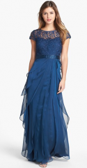 Adrianna Papell Layered Chiffon and Lace Navy Gown
