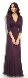 Alex Evenings Crisscross Waist Mesh Plum Gown