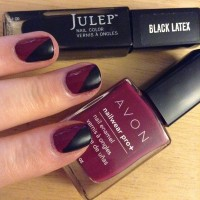 Julep's Black Latex paired with Avon's Racy.