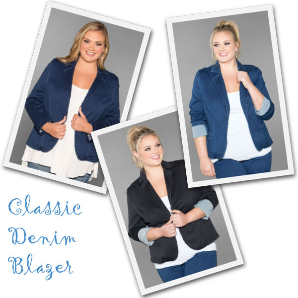 The classic denim blazer for plus size women from SwakDesigns.