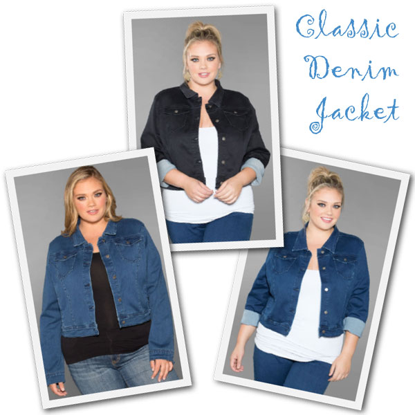 Plus size denim jackets from Sealed with a Kiss.