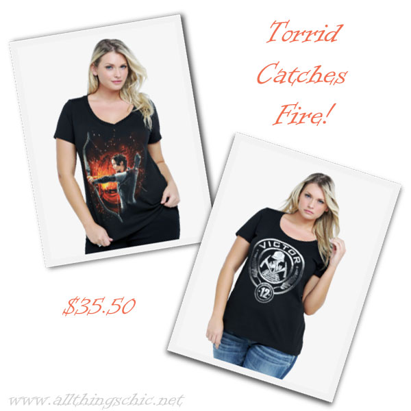 Torrid's selection of plus size tees featuring the new Hunger Games movie.