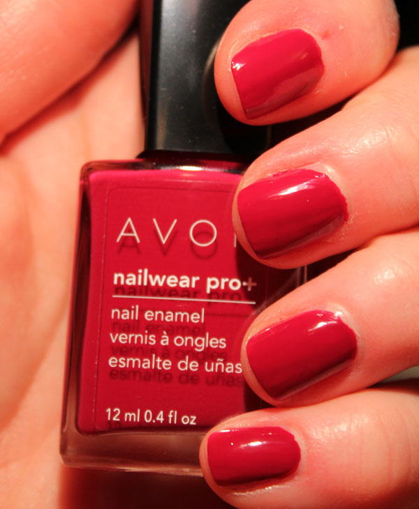 My nails are red hot in Avon's Racy nail polish.