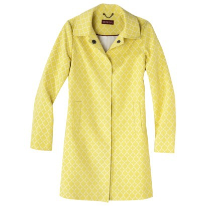 yellow printed trench