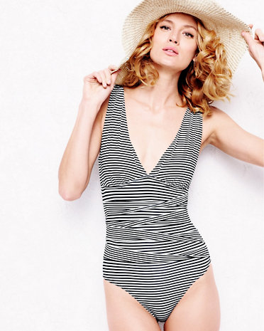striped one piece - so slimming