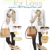 Designer Looks for Less | Taupe and White Outfit