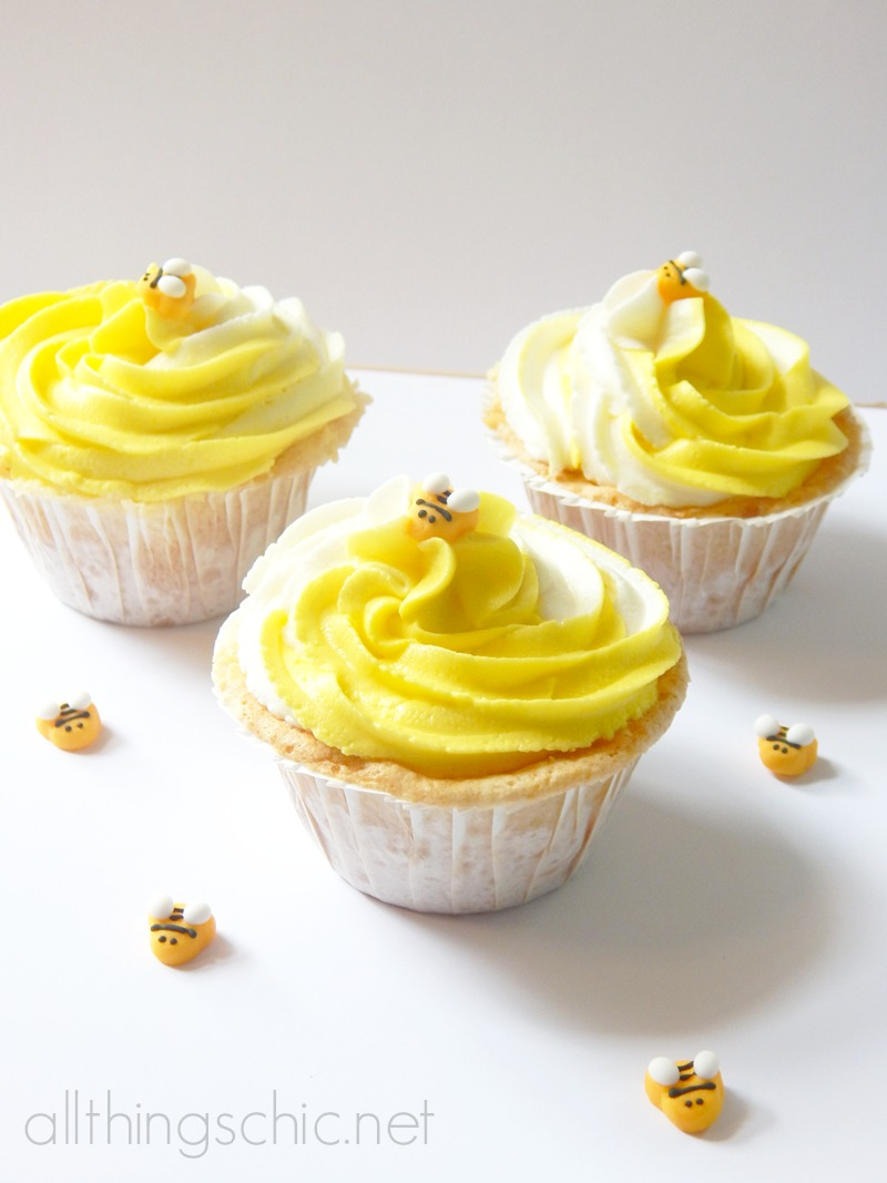 bumblebee cupcakes with almond swirl frosting