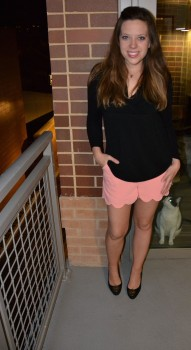 These pink scallop shorts by Pink Blush, $32, are my go-to for park days and date nights.