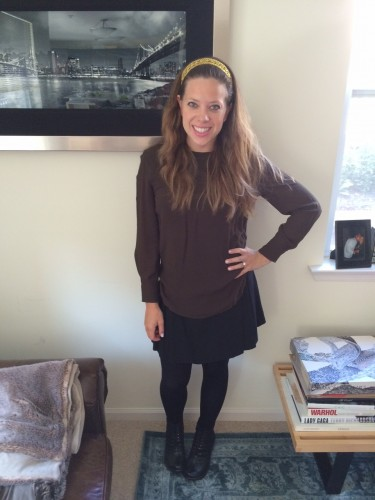 Headband by Carol & Grace; Top by Isabel Marant; Skirt by American Apparel.
