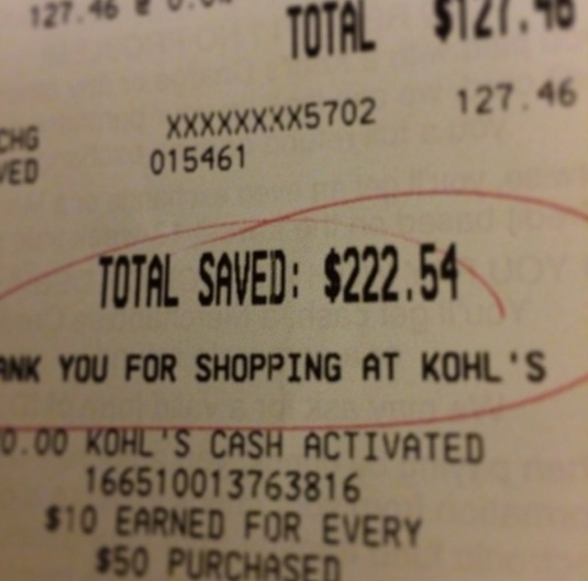 Saving at Kohls is amazing!